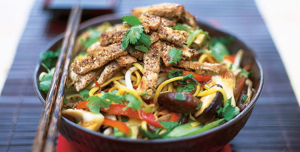 stir fry with mixed veg and noodles and coriander on top