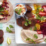 Bonfire night recipes - falafel and roasted veg wraps with feta and lemon slices