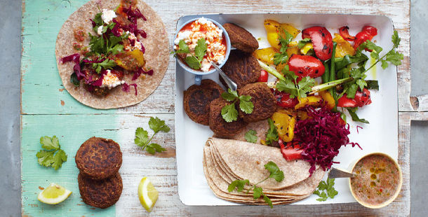 Bonfire night recipes - falafel and roasted veg wraps with feta and lemon slices