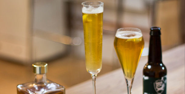 beer in cocktail glasses