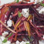 seasonal veg shredded with feta and mint leaves