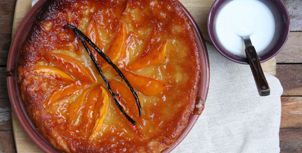 mango tarte tatin with coconut creme on the side