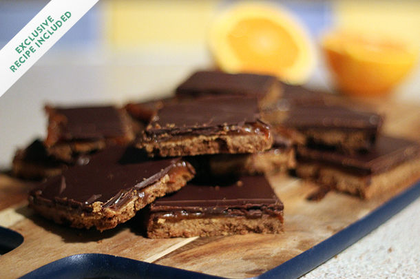 chocolate biscuits with orange slices on the side