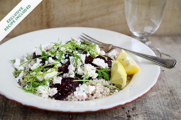 buckweat, beetroot and feta salad with a slice of lemon