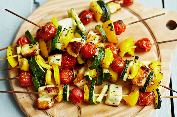 vegetable kebabs grilled with tomato, courgette and pepper