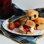 homemade scones with strawberry jam and cream
