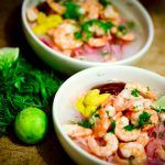 prawns with sauce and lime slices