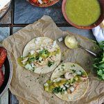 chicken tacos with salsa on wraps