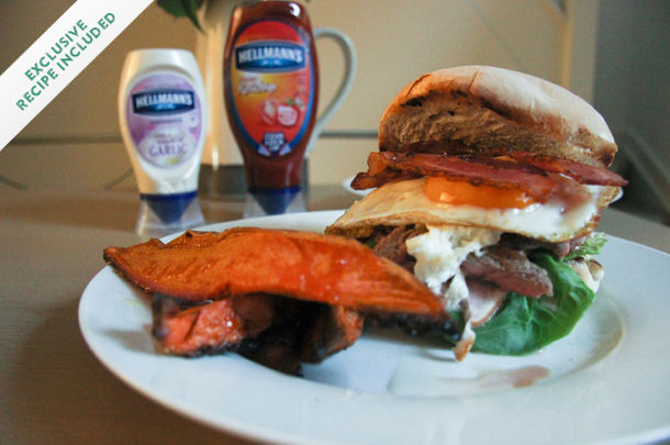 bacon and egg burger with lettuce and hellmanns on the side