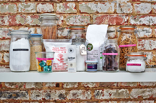 gluten-free pantry with jars filled with gluten-free produce