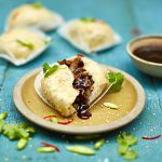vegan pastry with sweet chilli sauce inside a dumpling