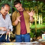 jamie oliver and gennaro contaldo making fresh pasta outdoors