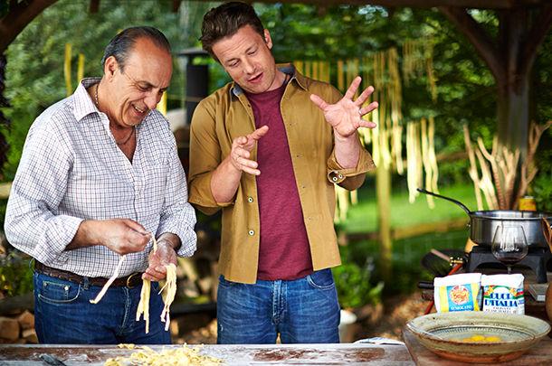 jamie oliver and gennaro contaldo making fresh pasta outdoors