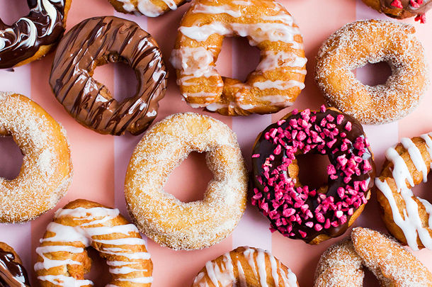 doughnuts with different icing and decoration on top