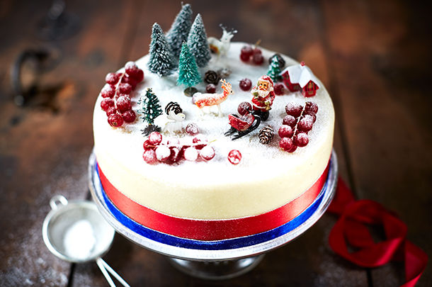 christmas cake with icing sugar sprinkled on top