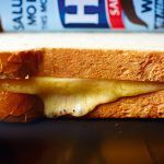 melted cheese toastie with HP sauce bottle