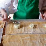 Cooking with kids - child flattening cookie dough