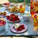 strawberries with cream on top and fruit iced tea with scones