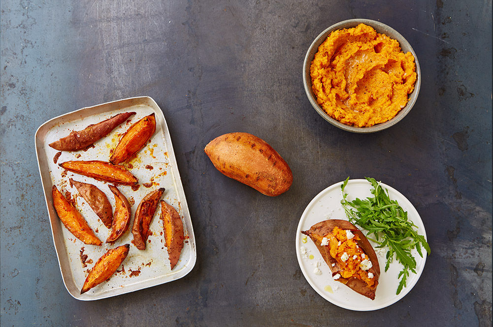 sweet potato grilled, mashed or as a baked potato with feta on top and salad