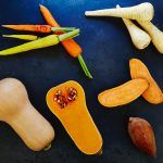 root veg cut in half and in a flat lay