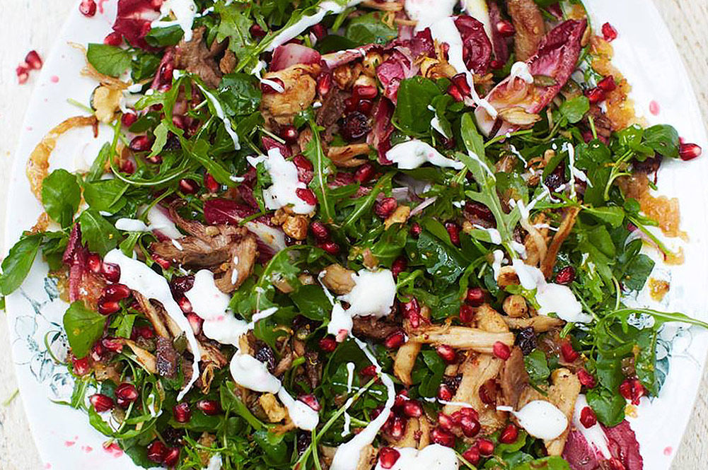 super food salad with veg, mushrooms and yoghurt dressing