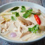 turkey soup with chilli, coriander and mushroom