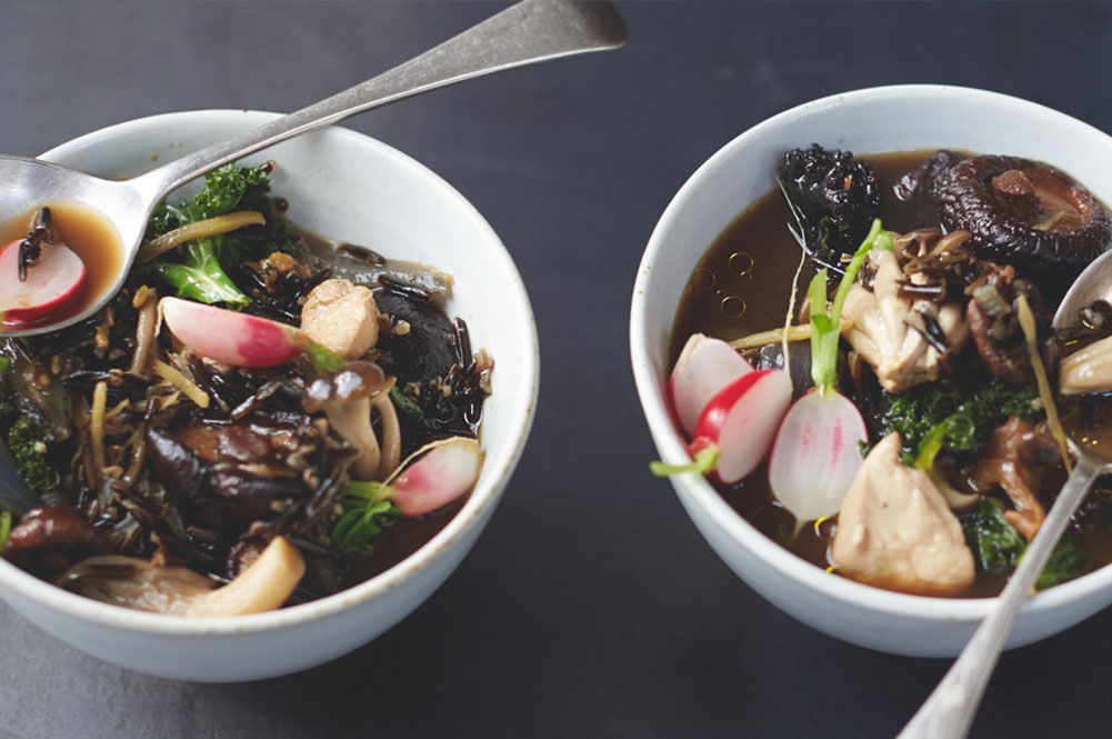 mushroom, radish and broccoli soup in a bowl