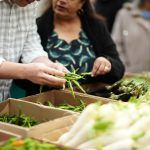 ethical shopper purchasing vegetables freshly without plastic