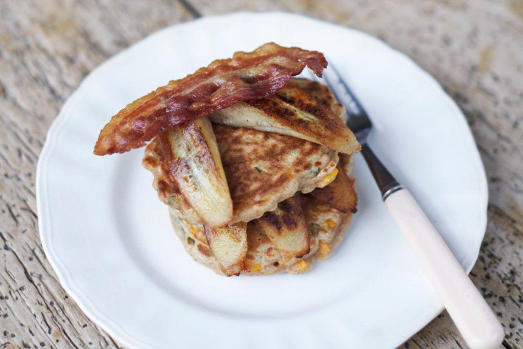 savoury pancake with plantain, sweetcorn and bacon