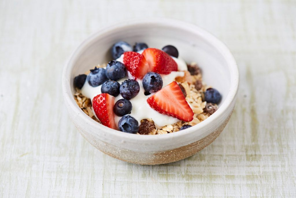 cereal bowl with granola with yoghurt and fruit on top