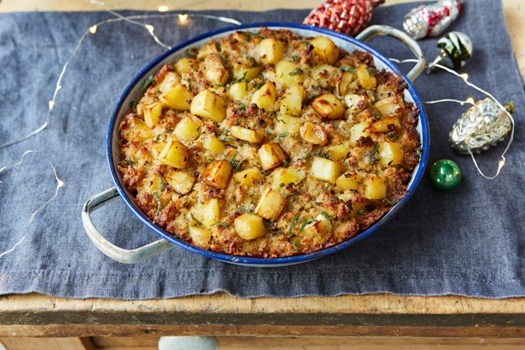 gluten-free stuffing in a pan with potatoes