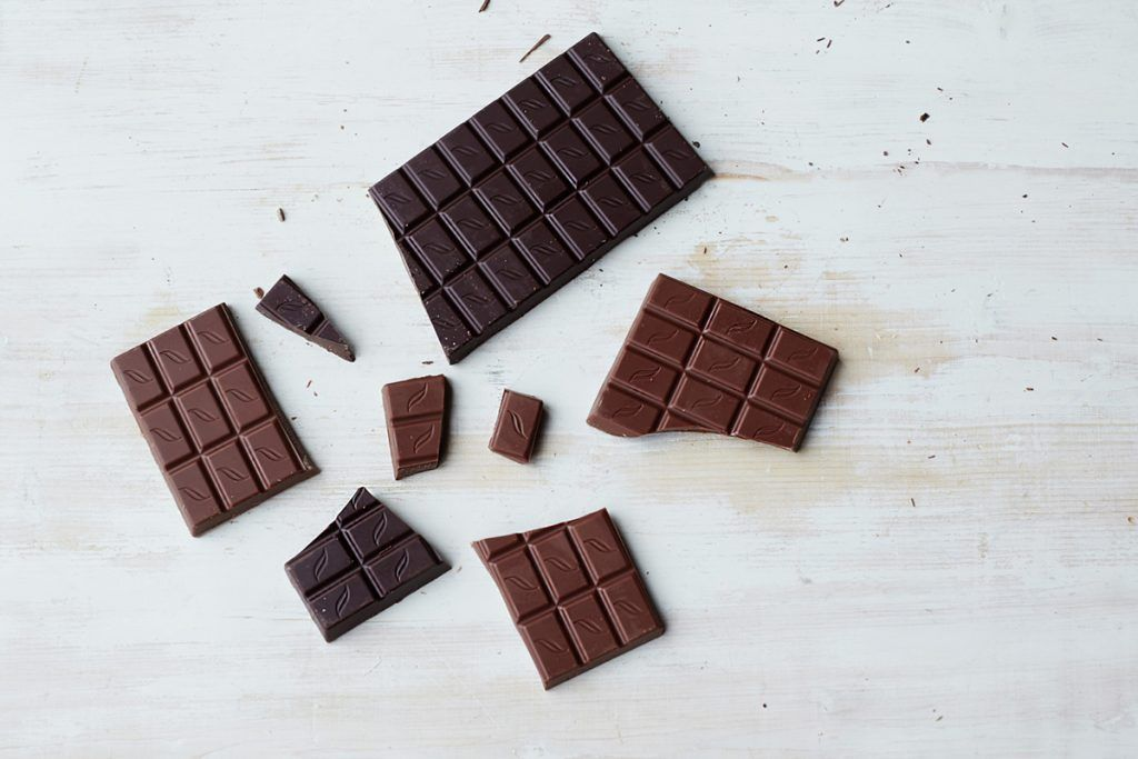 chocolate bars broken into smaller pieces flat lay