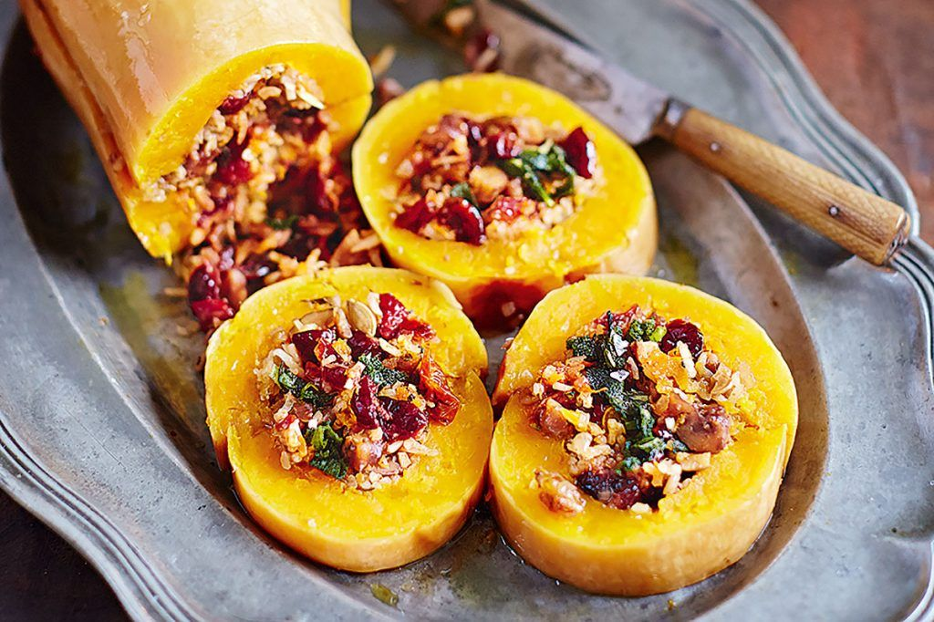 stuffed baked squash with grains and veg
