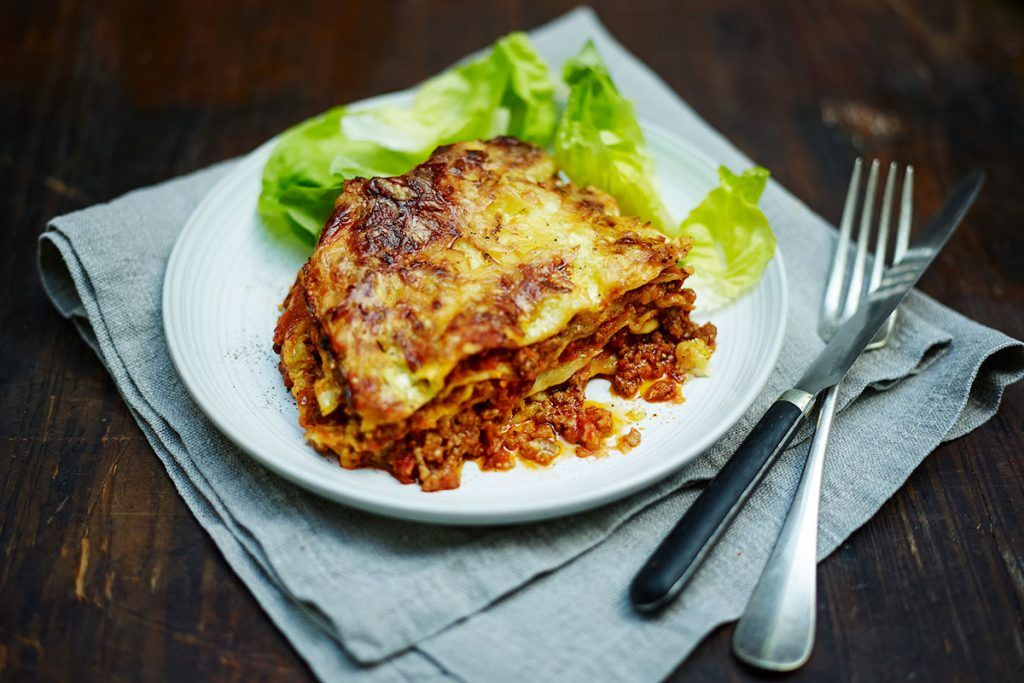 lasagne with salad on the side