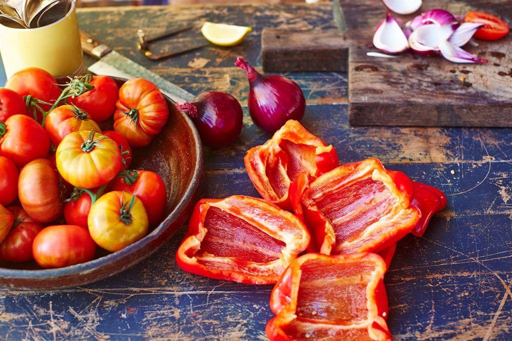 ratatouille vegetable preparation on table
