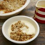 homemade apple crumble with custard