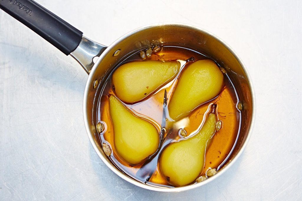 poached pears in a pan