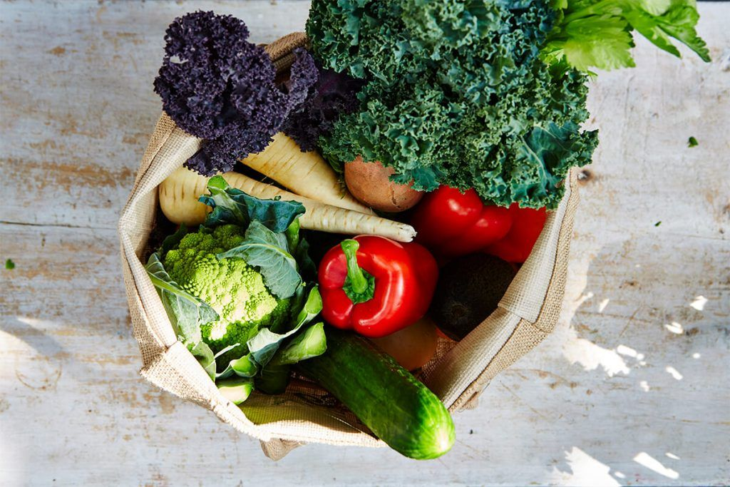 social supermarkets collection of vegetables in paper bag