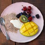 Healthy granola breakfast with yoghurt and fruit