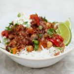Chilli con carne on rice