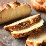 Chanukah bread recipe - bread sliced with sesame seeds on top