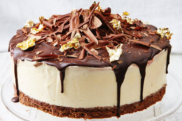black forest gateaux with chocolate flakes on top and gold leaf scattered