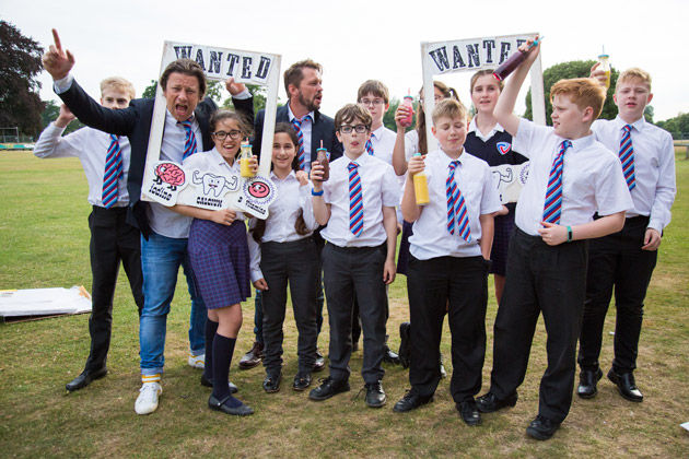plant based drinks in bottles with school and jamie oliver