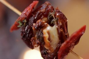 Cheese & Chorizo Stuffed Date Skewers