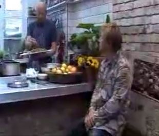 Jamie Oliver watches Pete Begg making courgette chips, from Jamie at Home