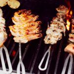 Australia's favourite dishes - skewered meat and prawns on a bbq