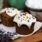 Healthy cake - is it possible? - cupcake with lavender and orange scattered on top with icing