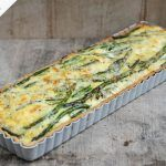 British asparagus cheddar tart in tray