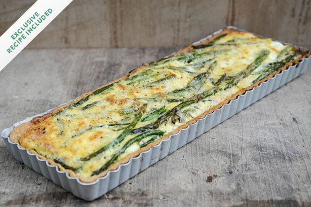 British asparagus cheddar tart in tray