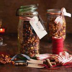 honey roasted nuts in a mason jar, gift wrapped